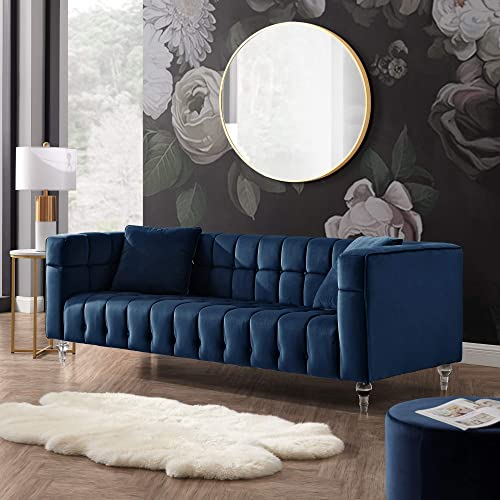 Inspired Home Blue Velvet Sofa