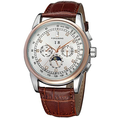Forsining Mens Automatic Self winding Moon Phase Watch with Brown Leather Strap Analogue Display FSG319M3T4