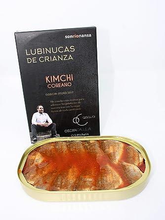 Conserva Gourmet de Lubina de crianza ecológica en salsa Kimchi coreana, Envasado en Santoña,
