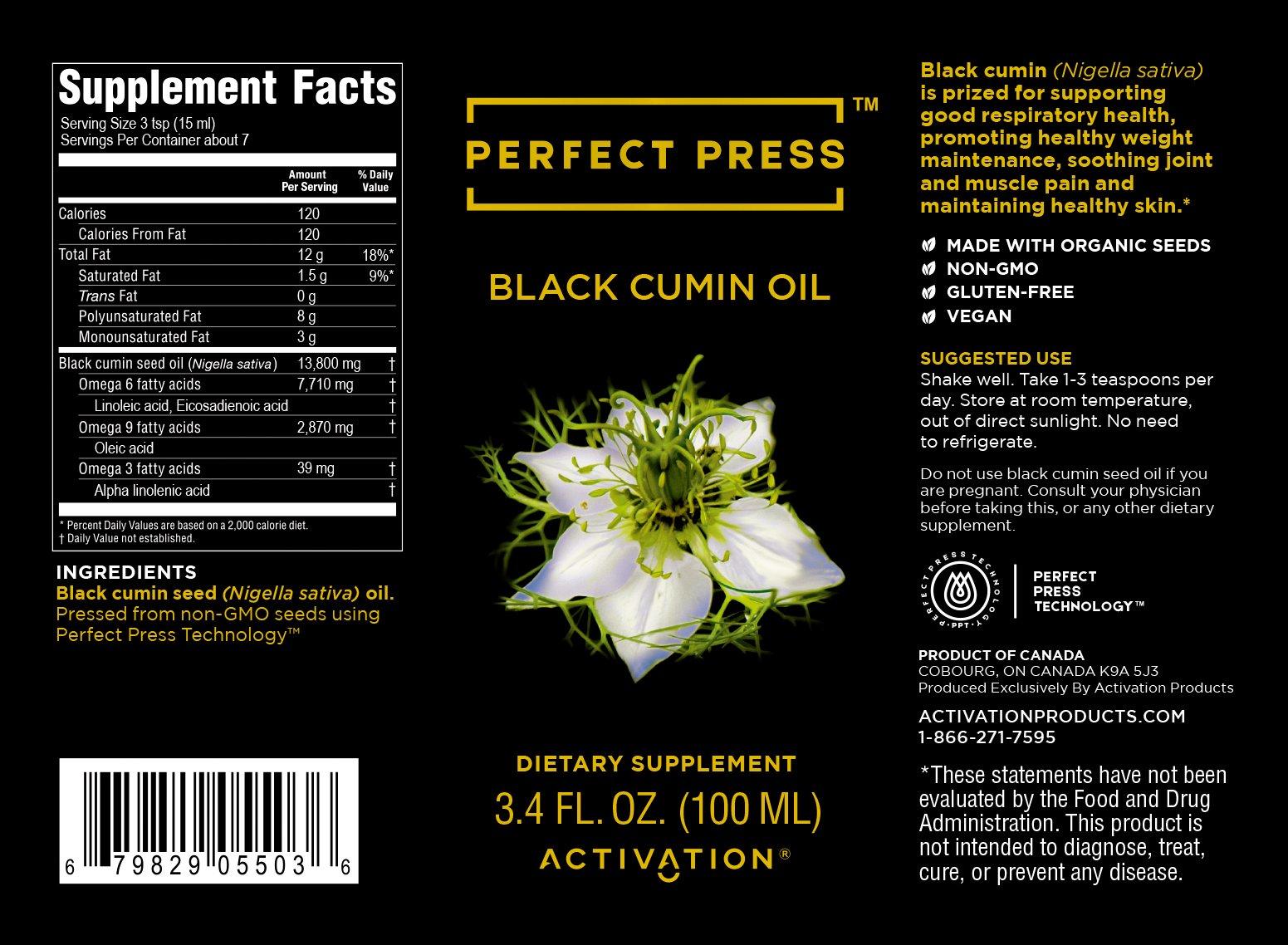 Activation Products, Perfect Press, Black Cumin Seed Oil, Vegan, Organic & Gluten Free, Pure Nigella Sativa. Digestive Support, Immune System Booster, Loaded with Vitamins b1 b2 b3 (100ml)