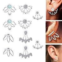 Thunaraz 5Pairs jacket Lotus Flower Bar Stud Earrings for Women Girls Crystal Ear Chic Cuff Earrings
