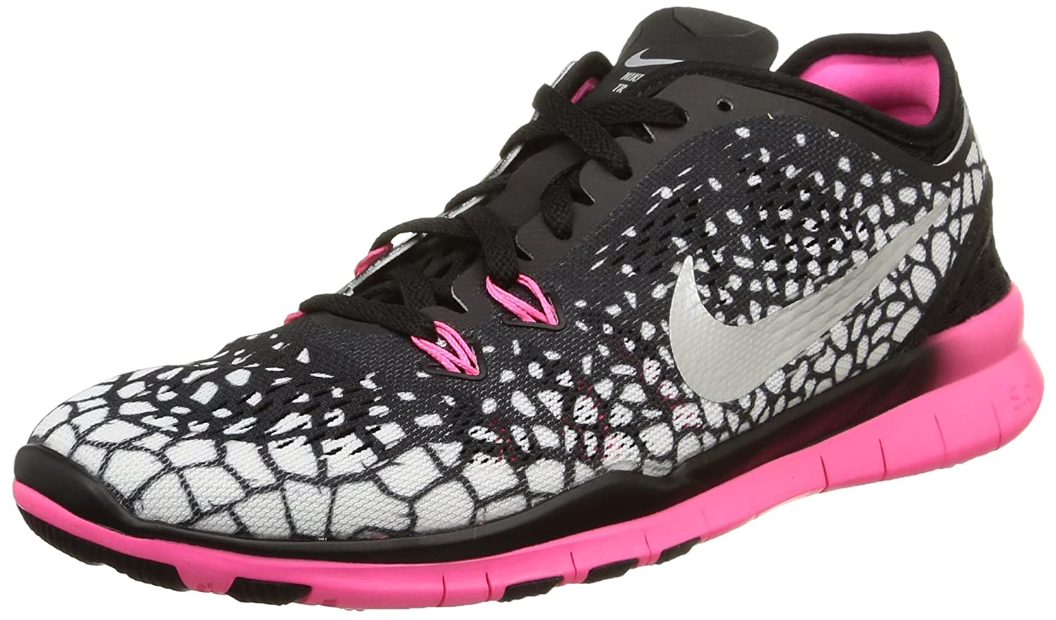 NIKE Women's Free 5.0 TR Fit 5 Training Shoe B00Q5XBKVO 7 B(M) US|Black/Pink/White/Metallic Silver