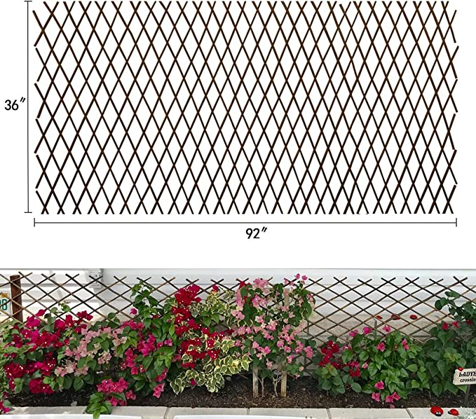Not expanded Green W Blue Flowers HYGRAD BUILT TO SURVIVE Expanding Wooden Garden Trellis Fence Screen With Artificial Plant Leaves /& Flowers 1M x 2M