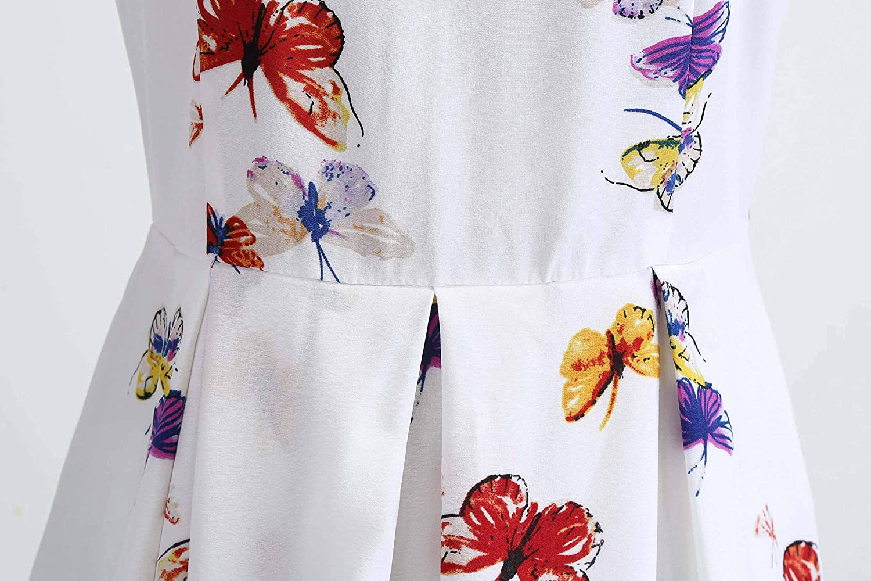 Wellwits Women's Print High Waist Pleated Tea Party 1950s Vintage Swing Dress Butterfly