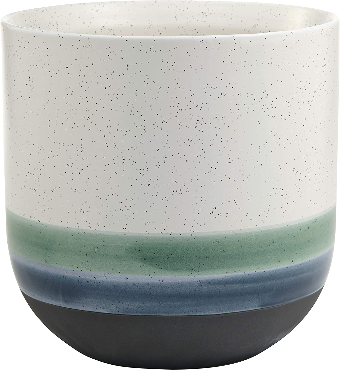 Rivet Westline Modern Indoor Outdoor Hand-Painted Stoneware Planter Flower Pot, 10 H, Teal White Blue Black