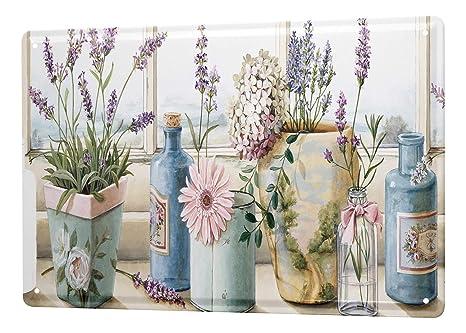 Deko Lavendel.Blechschild Blumenladen Deko Lavendel Flaschen Blumenfenster Wand Metall Schild 20x30 Cm