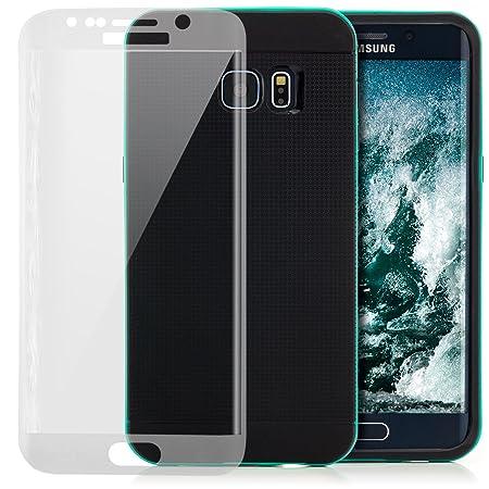 Saxonia Hülle + Panzerfolie kompatibel mit Samsung Galaxy S6 Edge Plus Silikon Case Cover [Ultra Hybrid] TPU Silikonhülle Bac