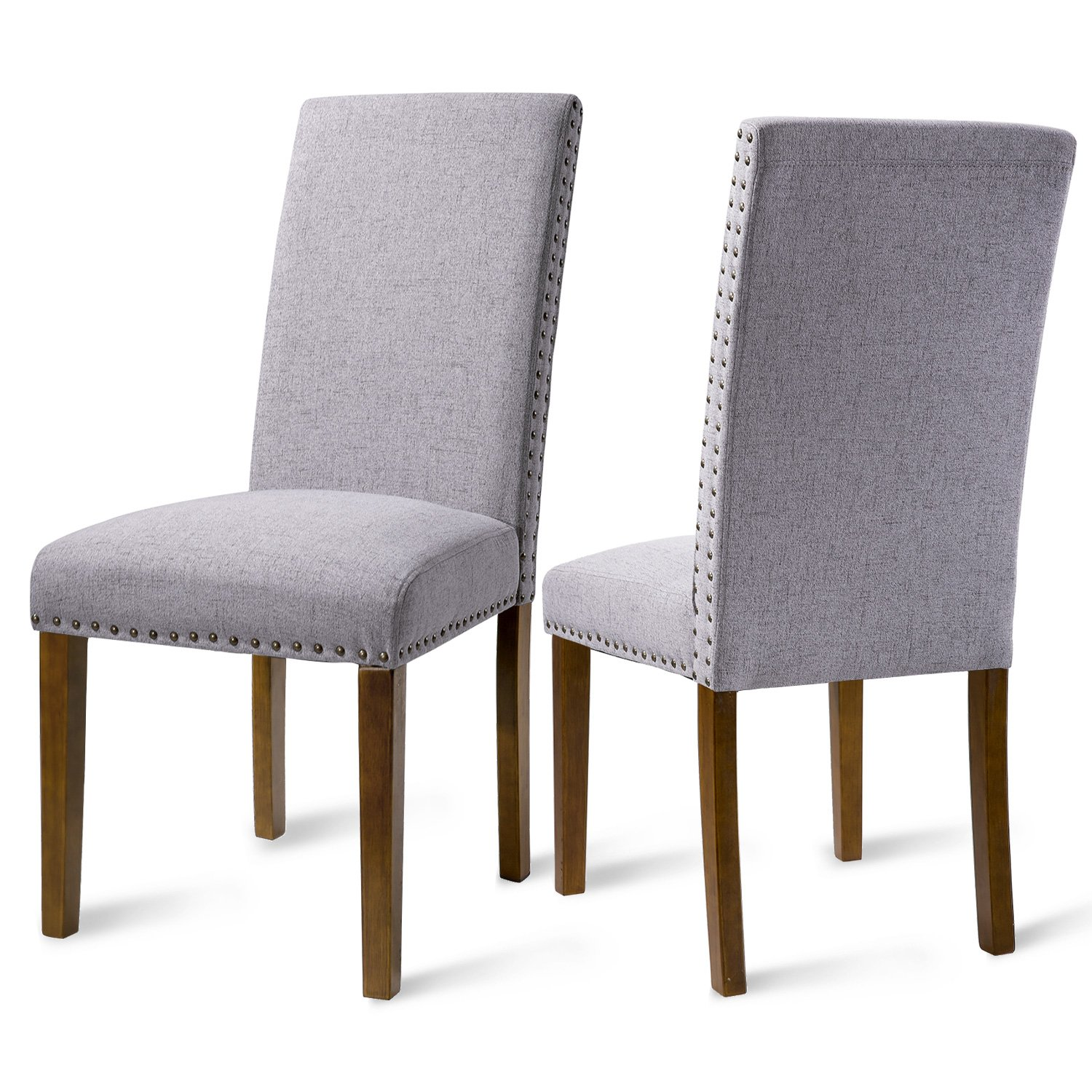 Merax PP036415 Set of 2 Fabric Dining Chairs with Copper Nails and Solid Wood Legs by Merax (Image #1)