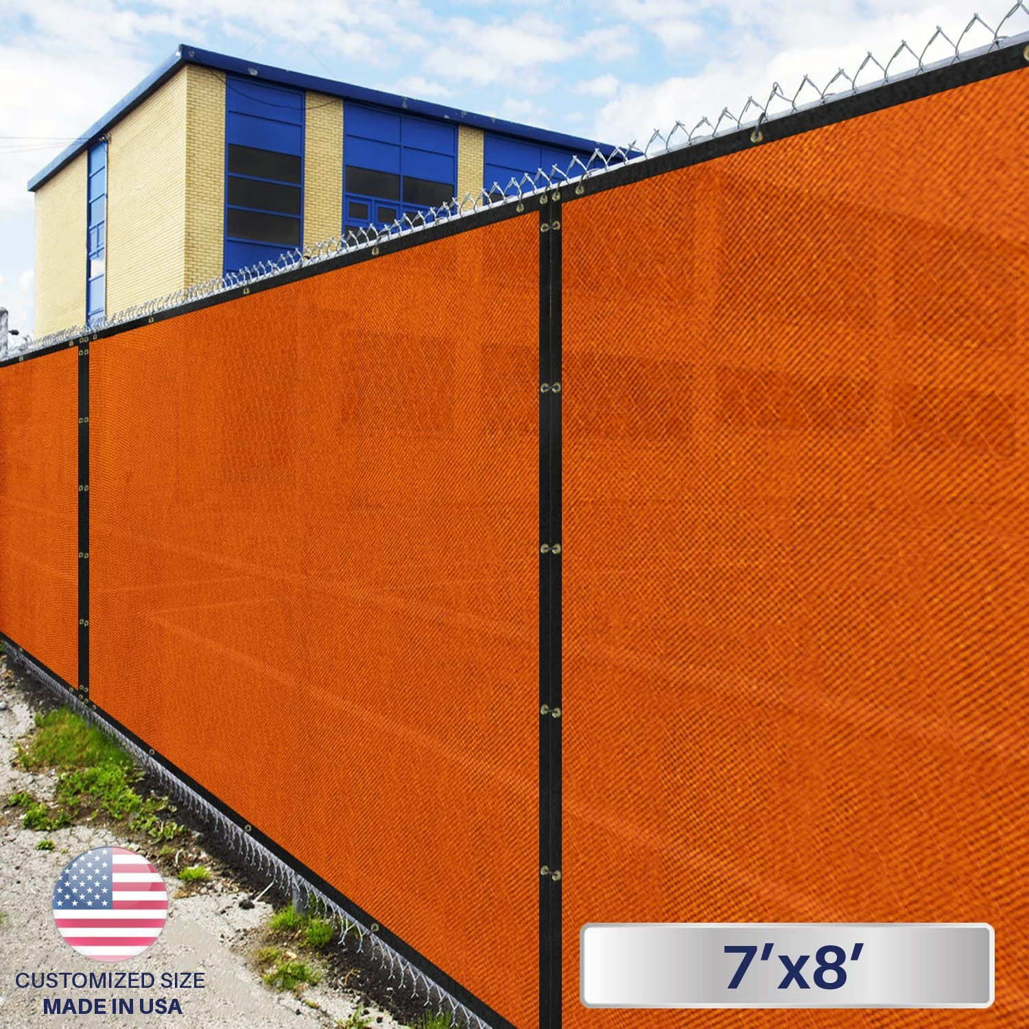 Windscreen4less Fence Privacy Screen 7 x 8 , Orange, Pergola Shade Cover Patio Canopy Sun Block,180 GSM, 95 Privacy Blockage, Mesh Fabric with Brass Gromment, Customized