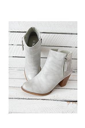 ★ Fashion Trend Mode Chelsea Boots Ankle Bootie Stiefeletten Low Stiefel Reißverschluss Animal Design Hoher Absatz hellgrau light grey (36) Kunstleder (8235)