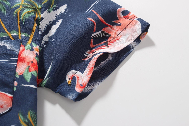 SSLR Big Boy's Flamingos Button Down Short Sleeve Aloha Hawaiian Shirt (Large(14-16), Dark Blue) by SSLR (Image #7)