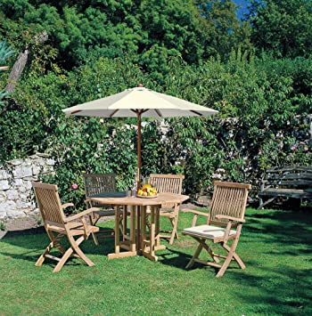 Berwick Wooden Dining Set by Jati, Teak Octagonal Gateleg Table with 4  Folding Armchairs (