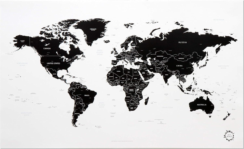 Cartina Mondo In Bianco E Nero.Designfair Poster Con Mappa Del Mondo Colore Bianco E Nero Amazon It Cancelleria E Prodotti Per Ufficio
