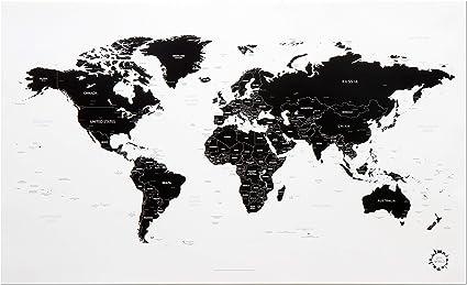 carte monde noir et blanc Amazon.: White and Black World Map Unique Design Poster Print