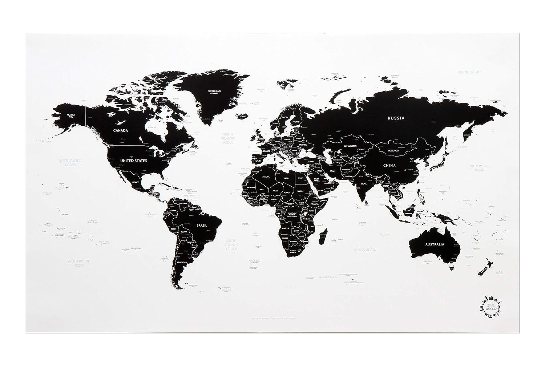 Mappa Del Mondo Colore Bianco E Nero Motivo Poster Traveler