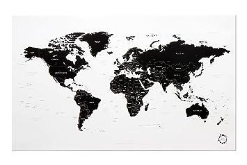 carte du monde noir et blanc design White and Black World Map Unique Design Poster Print Traveler