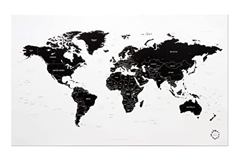 Amazon.: White and Black World Map Unique Design Poster Print