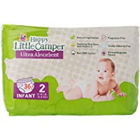 Happy Little Camper Ultra Absorbent Premium Natural Nappies, Infant, Size 2 (5-8 kg), 36 Count