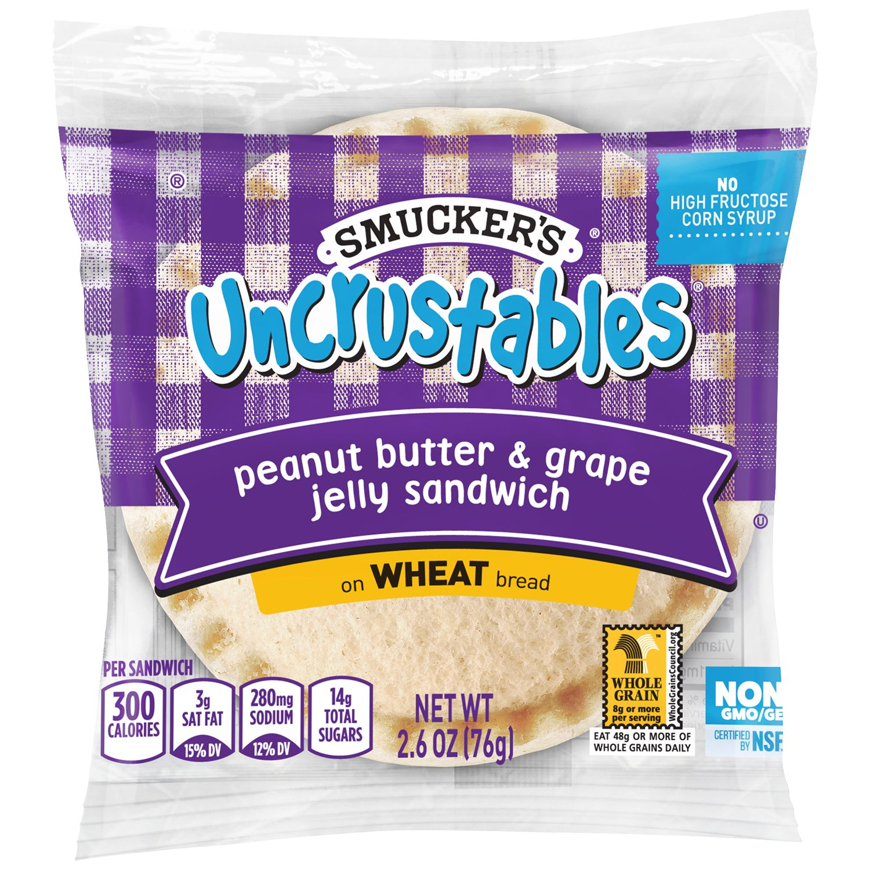 Smucker's Uncrustables, Peanut Butter and Grape, Wheat, 2.6 oz, (72 count)