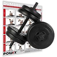 POWRX Dumbbellset van 2 x 20kg/30kg/40kg I Halter set met gekartelde en veilige staven met stersloten I dumbbell…