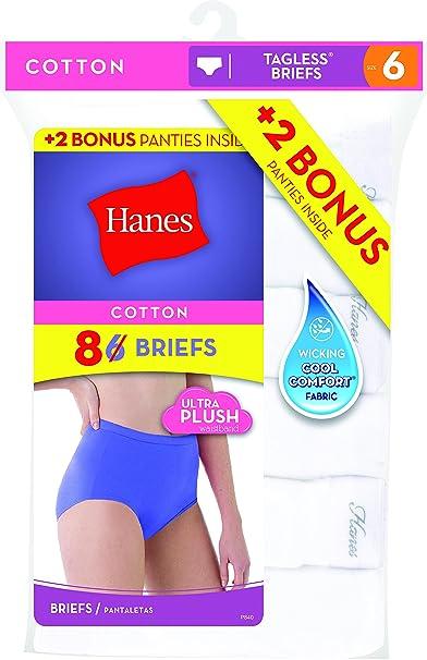 Hanes Women\'s 6 Pack Cotton Brief, White (Bonus +2), 9 at Amazon ...