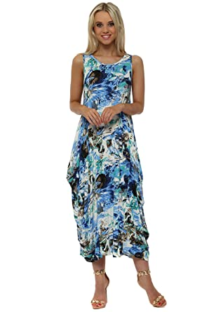 cc517ee981 Made in Italy Blue Print Parachute Jersey Maxi Dress One Size Blue   Amazon.co.uk  Clothing