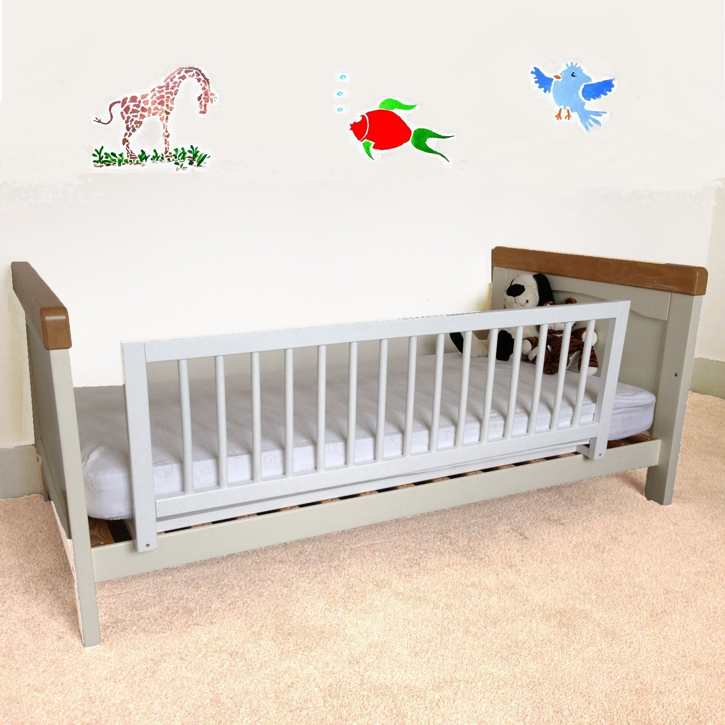 Baby bed rails - Safetots Wooden Bed Rail White