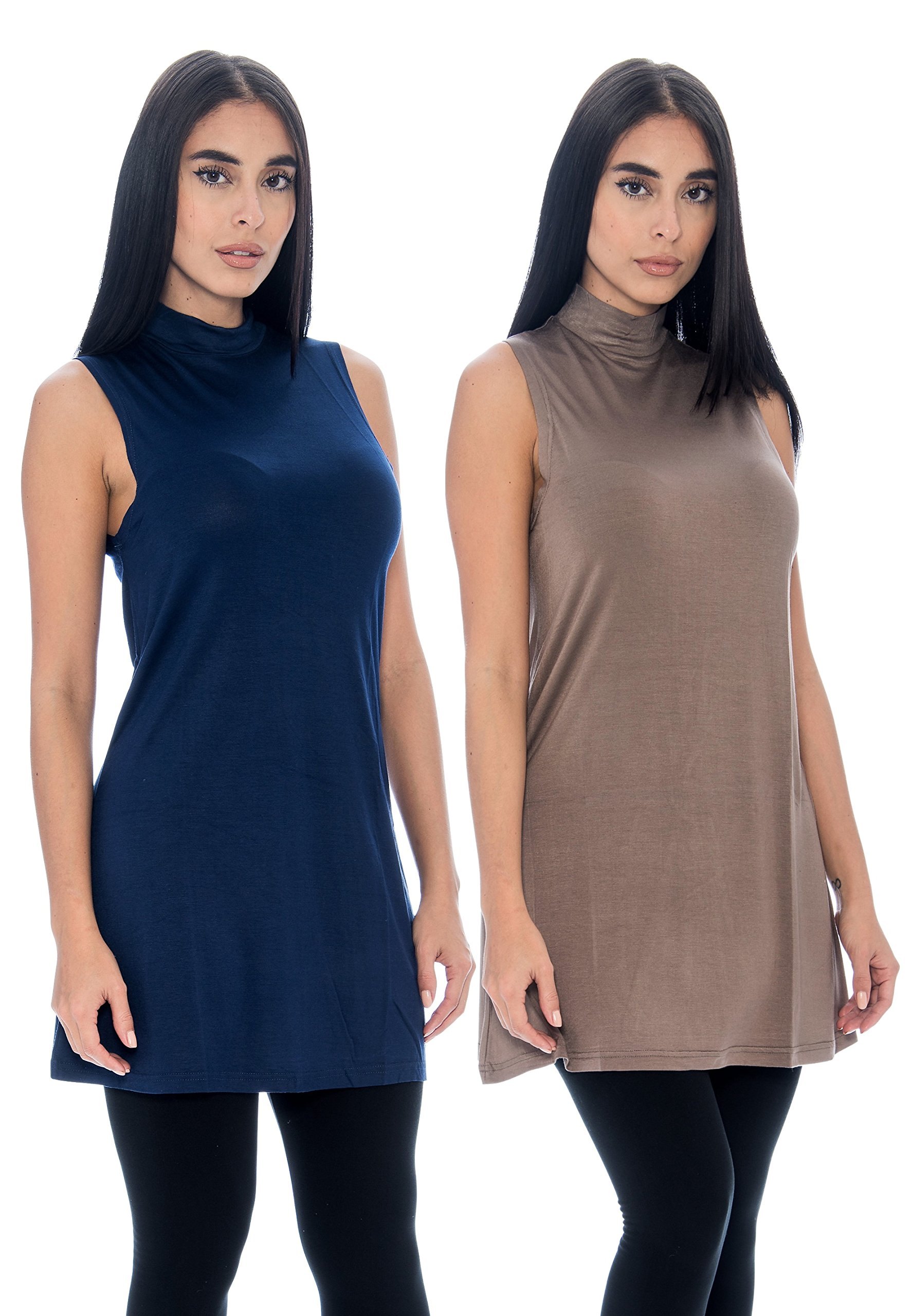 Unique Styles Seamless Womens Long Tank Top Sleeveless Mock Turtle Neck Layering Top 4 Pk (Large, 2-PK: Navy, Taupe)