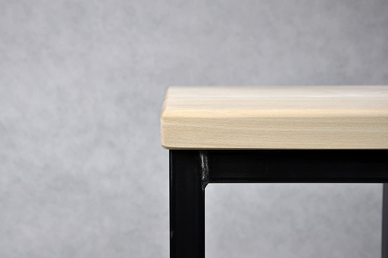 Buche Lackiert Barhocker Stahl Holz massiv Barstuhl Industrial Design Metall Hocker H 78 cm