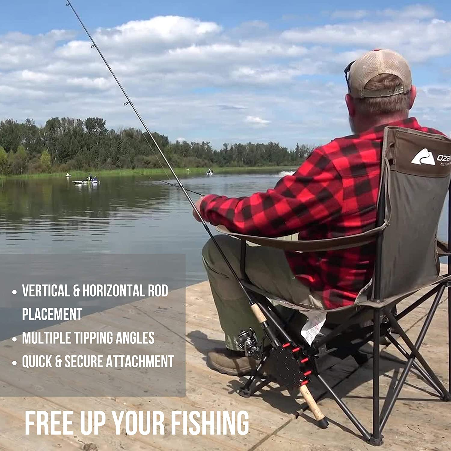 Universal Fishing Pole Holder for Anglers No Ground Required The Only All Terrain Fishing Rod Holder for Bank Fishing Portable Hands-Free Shore Fishing Rod Sprocket Fishing Rod Holder