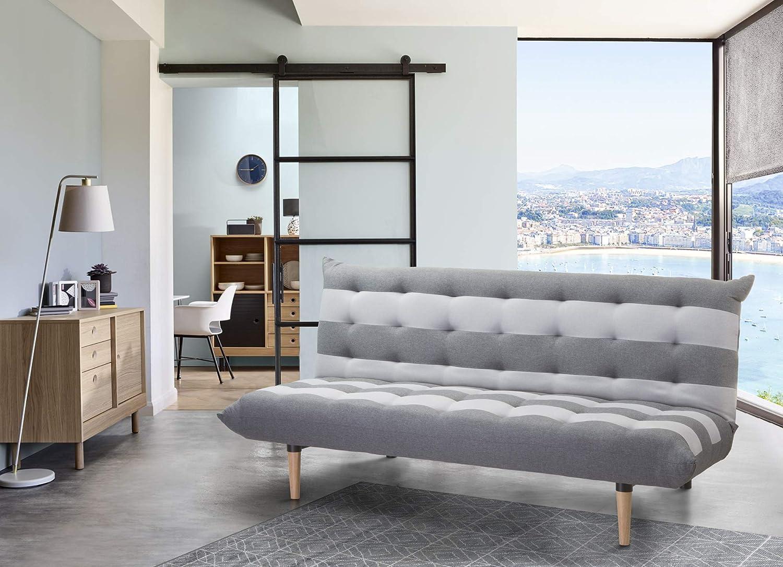 CAMBIA TUS MUEBLES - Sofá Cama Véneto Clic clac 3 plazas tapicería en Tela con Rayas de Color Gris Claro y Antracita 190 X 95 cm