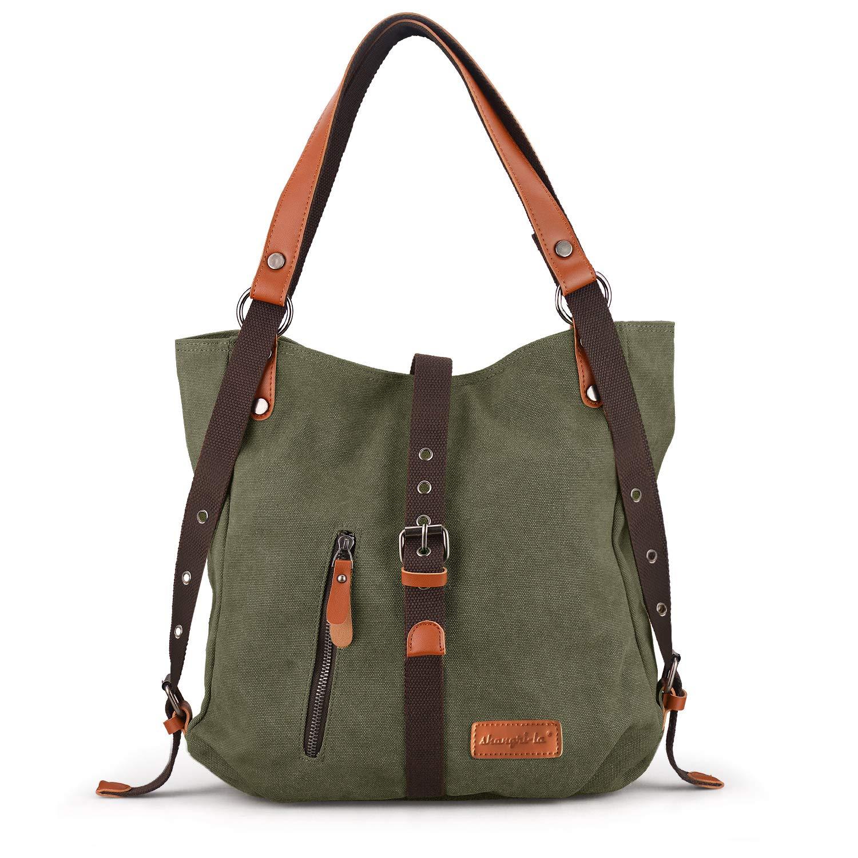 SHANGRI-LA Purse Handbag for Women Canvas Tote Bag Casual Shoulder Bag School Bag Rucksack Convertible Backpack - Green by SHANGRI-LA