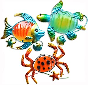 GIFTME 5 Metal Beach Wall Art Decor Set of 3 Metal Sea Turtle Fish and Crab with Stained Glass Wall Art for Pool, Patio, Bathroom or Pool,Deck,Balcony Wall Decor(10 inch,Multicolor)