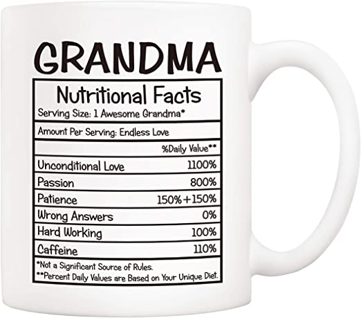 Amazon Com 5aup Mothers Day Gifts Grandma Nutritional Facts