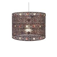 Antique Bronze Gem Moroccan Style Chandelier Ceiling Light Shade Fitting Round Universal, Antique Bronze