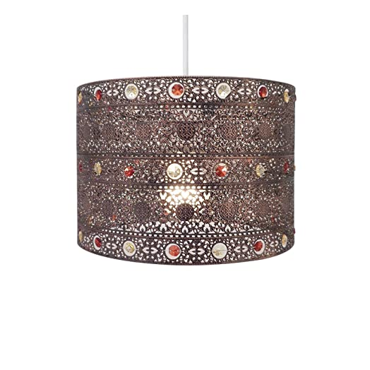 Antique Bronze Gem Moroccan Style Chandelier Ceiling Light Shade ...