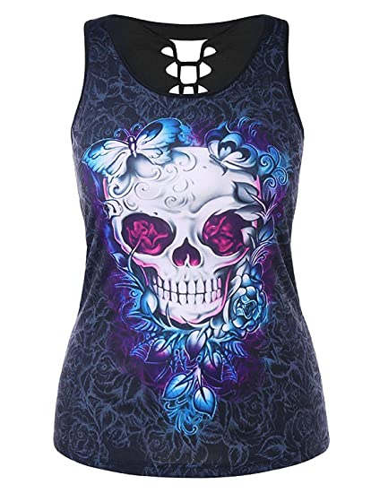 061e84a87c62a CharMma Women s Gothic Plus Size Cutout Skull Butterfly Print Tank Top ( Colormix