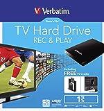 """Verbatim externe 2,5'' Festplatte mit 1 TB Speicherkapazität (Einfaches Anbringen hinterm TV möglich - mit eingebauter """"USB Record & Play"""" Funktion - inklusive umfangreichem Software-Paket) Schwarz"""