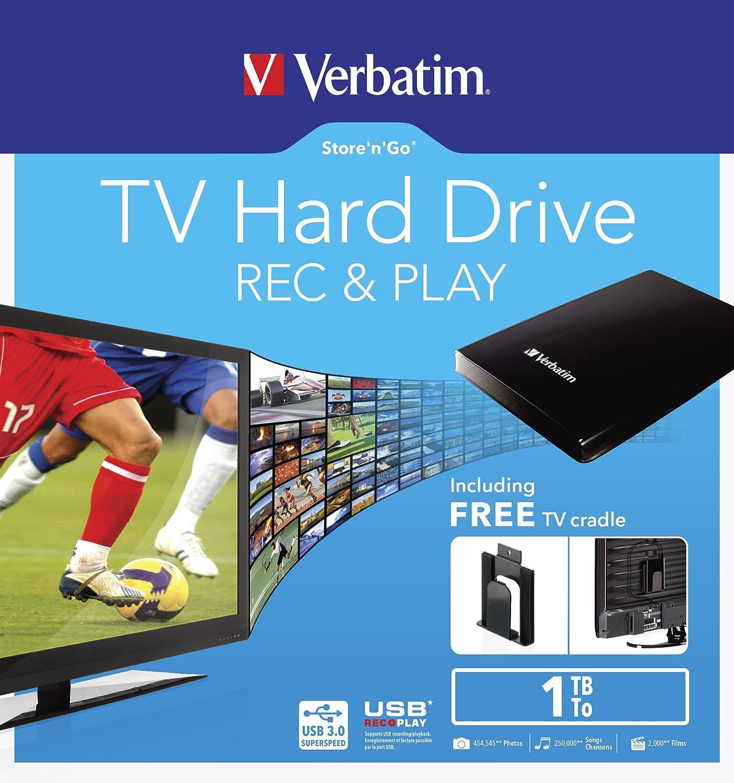Verbatim externe 2, 5'' Festplatte mit 1 TB Speicherkapazitä t (Einfaches Anbringen hinterm TV mö glich - mit eingebauter 'USB Record & Play' Funktion - inklusive umfangreichem Software-Paket) Schwarz VERBATIM CORPORATION 53180