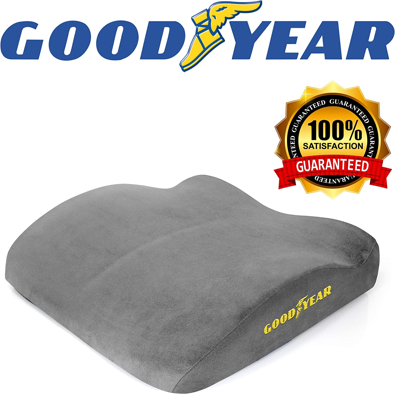 Goodyear GY1012 - Seat Cushion for Office Chair or Car / SUV - 100% Pure Memory Foam - Soft Plush Cover - Fits Most Seats - Non-Slip Bottom - Designed for Maximum Comfort - Washable Cover
