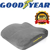 Goodyear GY1012 - Seat Cushion for Office Chair or Car/SUV - 100% Pure Memory Foam - Soft Plush Cover - Fits Most Seats - Non-Slip Bottom - Designed for Maximum Comfort - Washable Cover