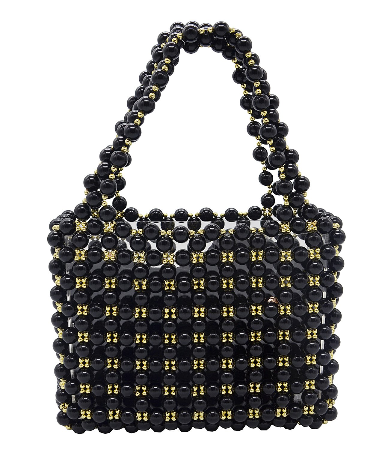 Miuco Women's Vintage Style Pearl Tote Bags Evening Clutch Wedding Purse Black by Miuco (Image #1)