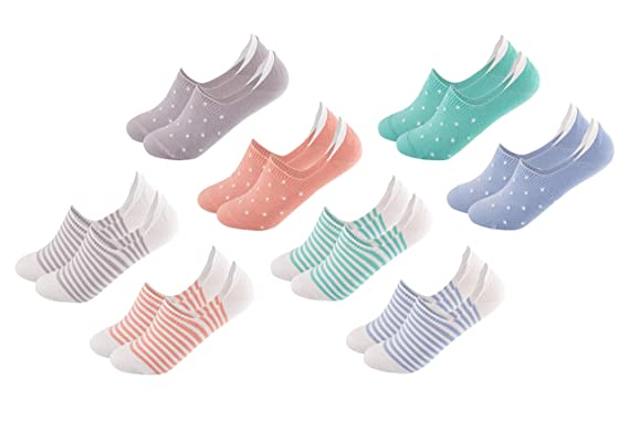 2a778304ad290 FOOTNOTE I 8 Paar I Unsichtbare Sneaker Socken Footies Füßlinge Invisible Socks  mit Silikon Pastell Gepunktet