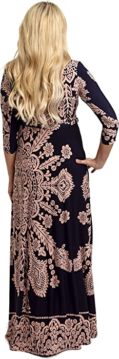 73a66dce28e PinkBlush Maternity Navy Blue Pink Printed Draped Maternity Maxi ...