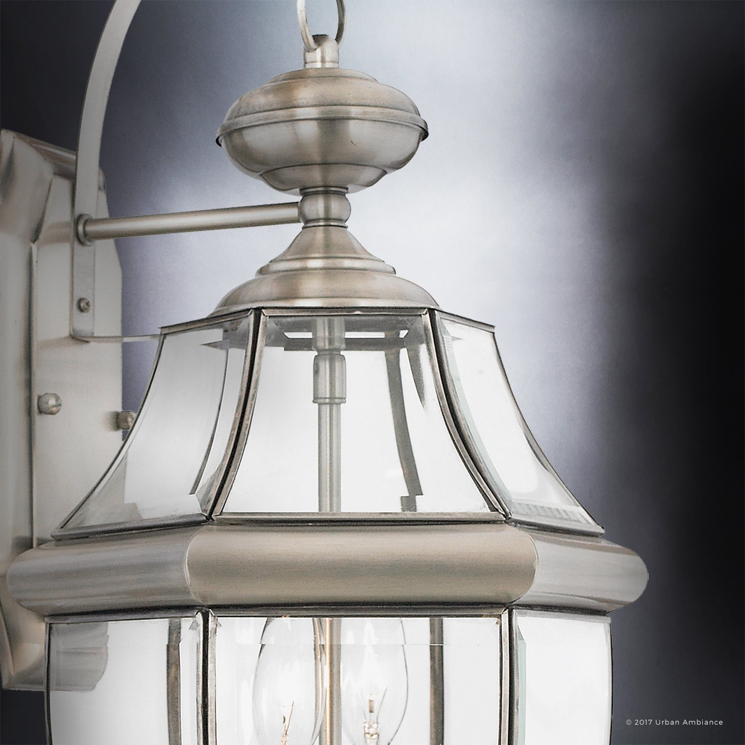 Luxury Colonial Outdoor Wall Light, Large Size: 20''H x 10.5''W, with Tudor Style Elements, Versatile Design, Classy Aged Silver Finish and Beveled Glass, UQL1145 by Urban Ambiance by Urban Ambiance (Image #4)