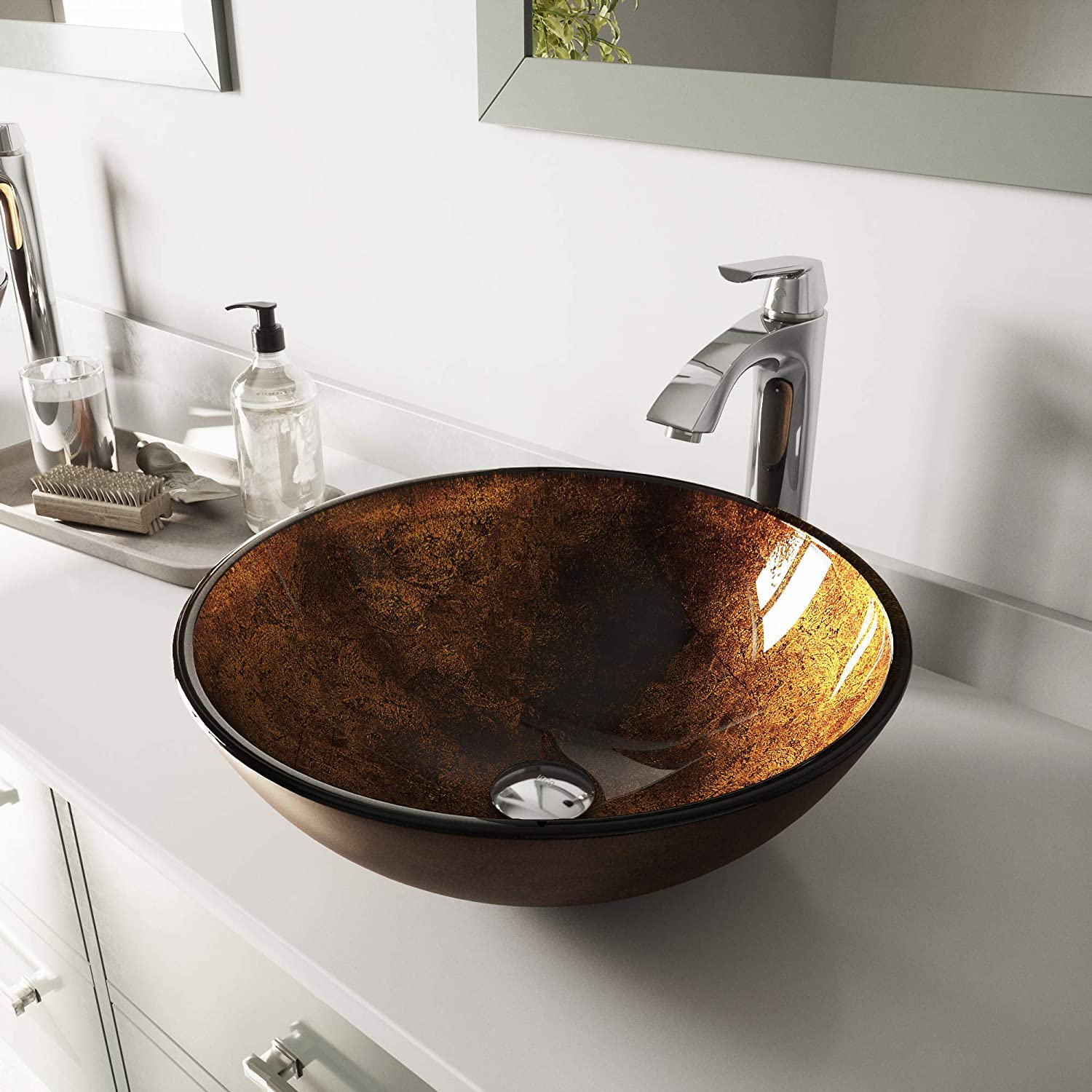 VIGO Russet Glass Vessel Bathroom Sink and Linus Vessel Faucet with Pop Up, Chrome