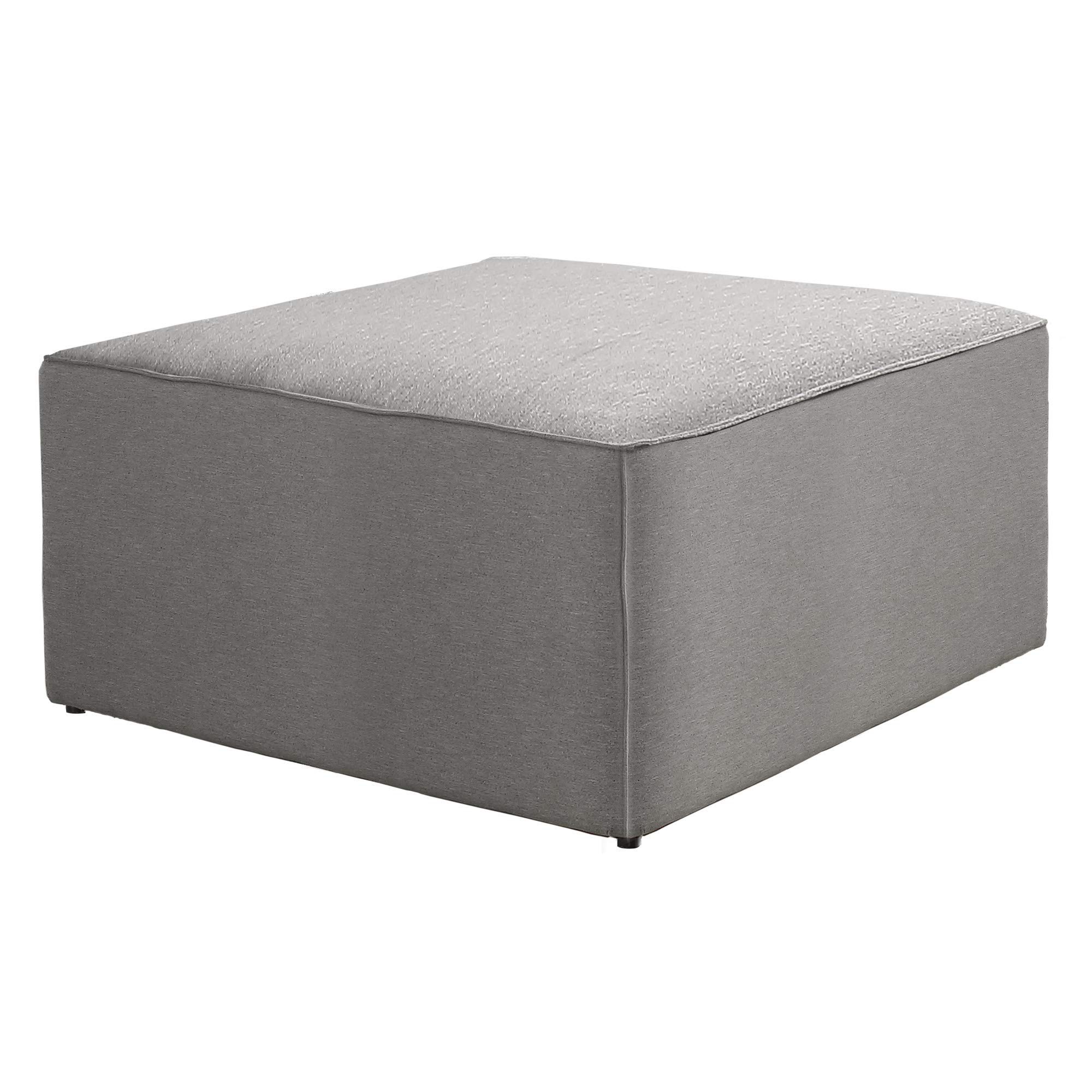 Selma Ottoman in Cloudy Gray Checkers with Track Arms And Block Feet, by Artum Hill