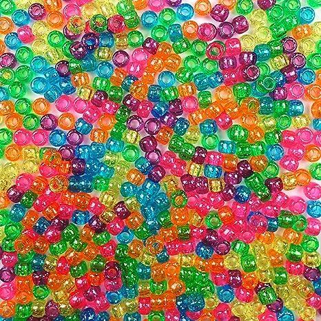 500 beads bulk bag Caribbean Blue Multicolor Mix Plastic Pony Beads 6x9mm