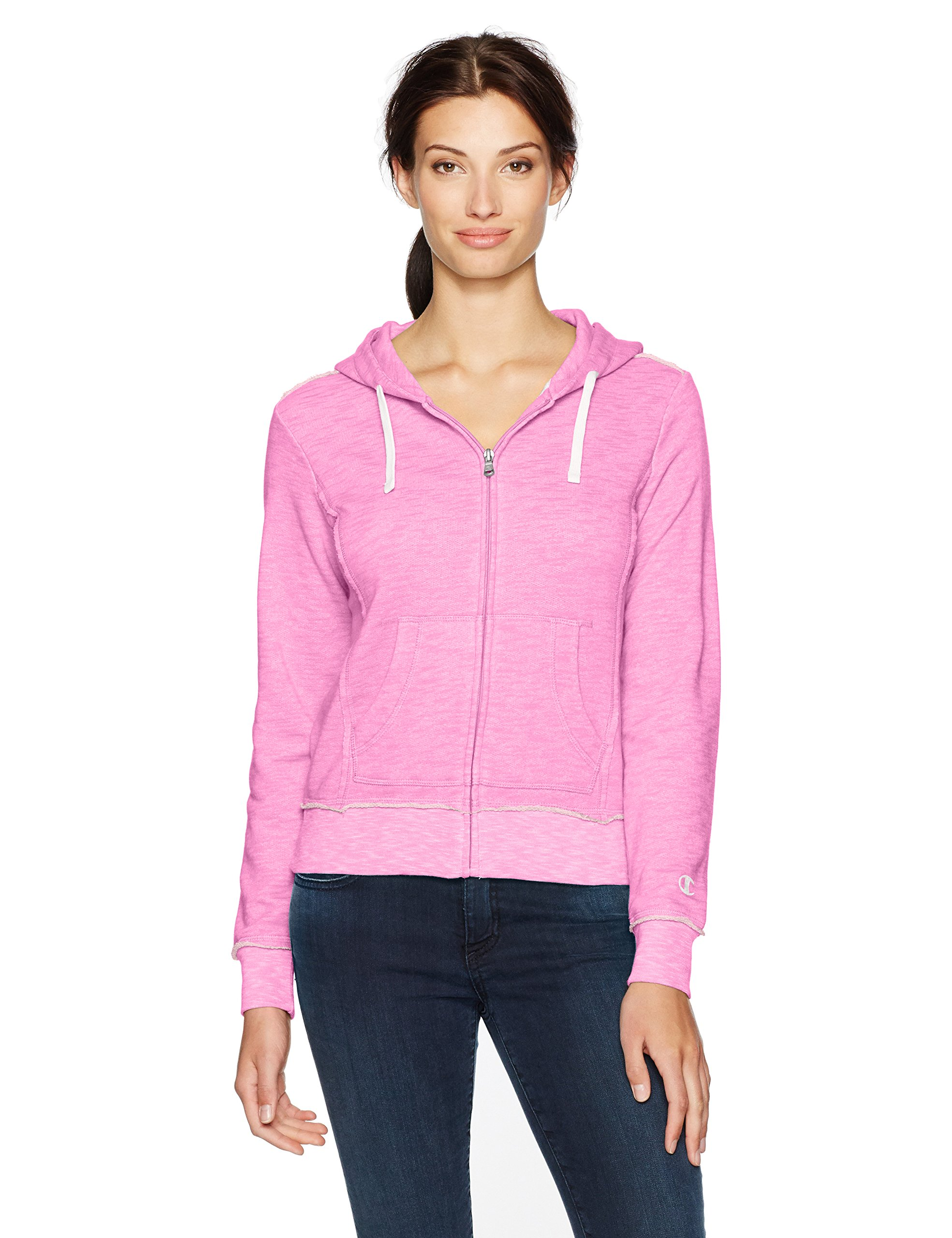 Champion Women's Distressed Full Zip Hoodie (Edition), Pink, M