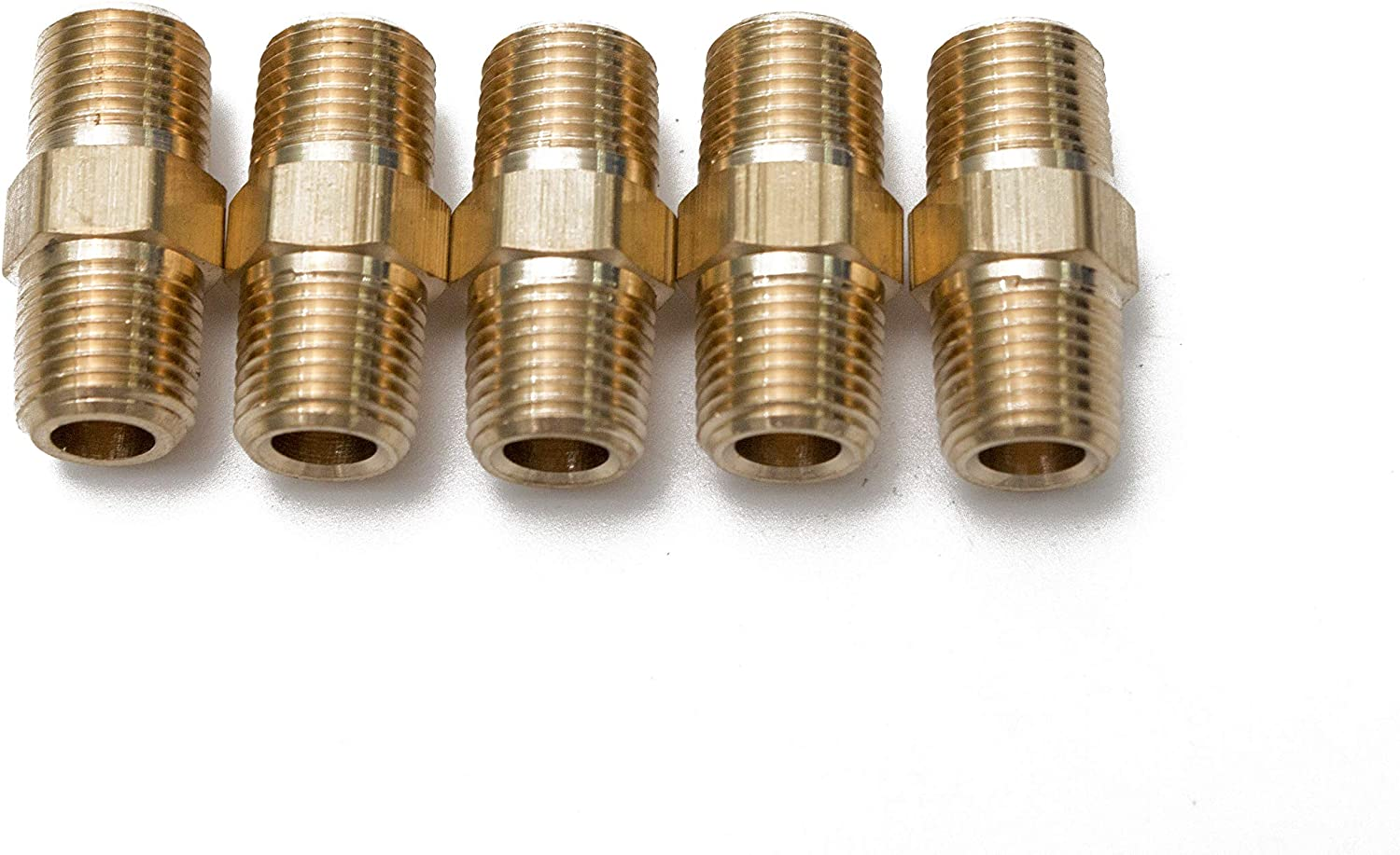 """Lot of 100 Brass Pipe Hex Nipple Fitting 1//4/"""" Male NPT Air Fuel Water coupler"""